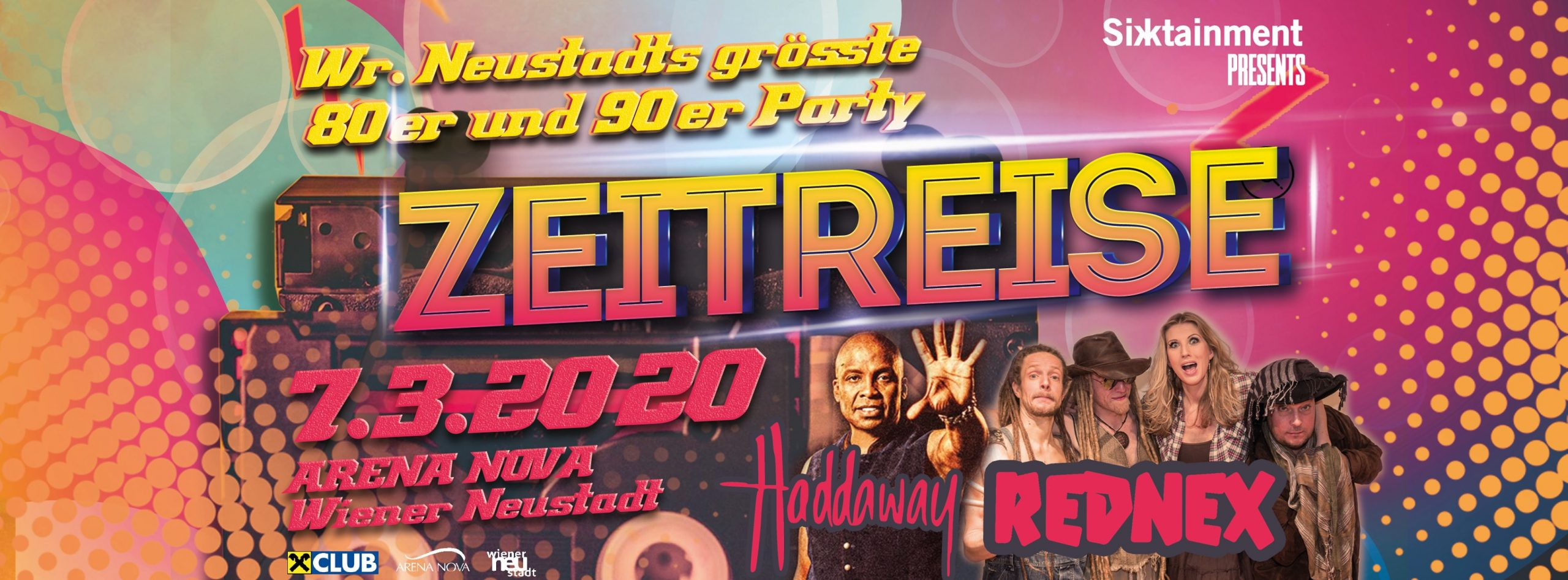 Zeitreise - We Love The 80's and 90's am 7. March 2020 @ Arena Nova Playgrounds.