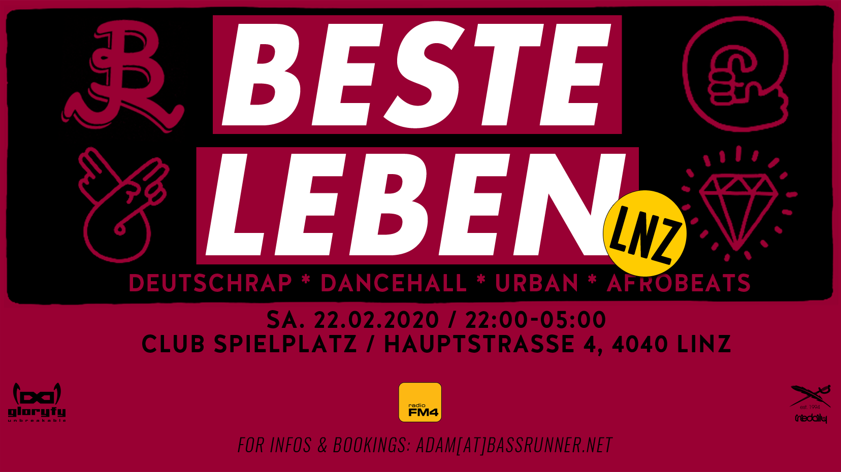 BESTE LEBEN - LNZ - Deutschrap * Dancehall * Urban * am 22. February 2020 @ Club Spielplatz.
