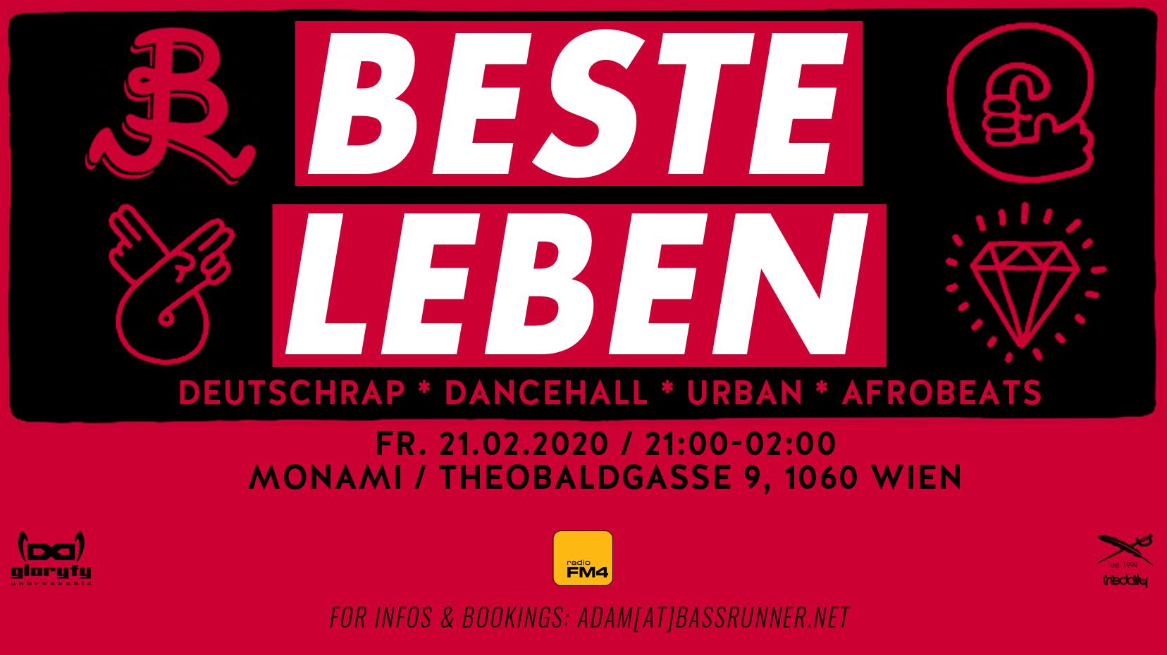 BESTE LEBEN - Deutschrap * Dancehall * Urban * am 21. February 2020 @ Mon Ami.
