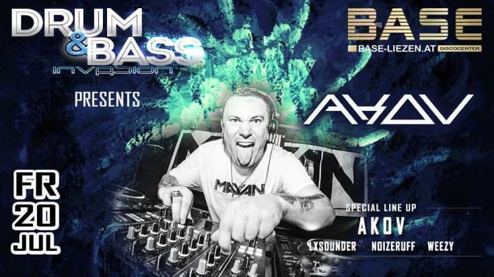 Drum & Bass Invasion presents ✇ AKOV ✇ am 20. July 2018 @ Base Liezen.