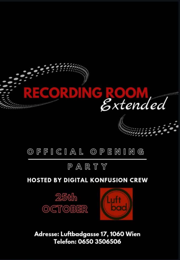 Recording Room Extended Opening Party am 25. October 2018 @ Luftbad.