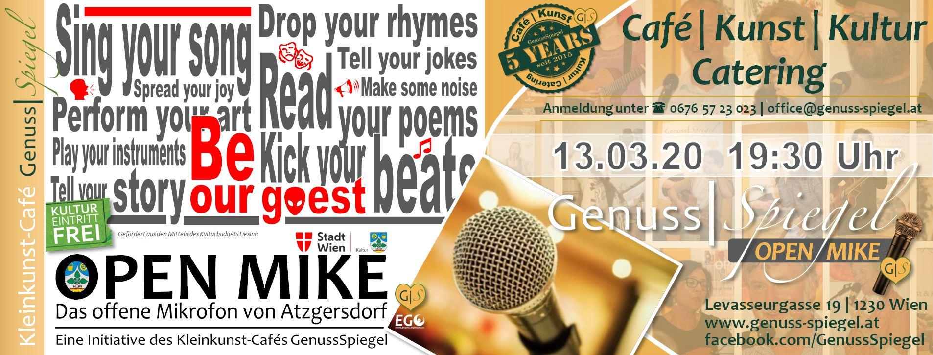 GenussSpiegel präsentiert: OPEN MIKE - Das offene Mikrofon von Atzgersdorf am 13. March 2020 @ Café Genuss-Spiegel.
