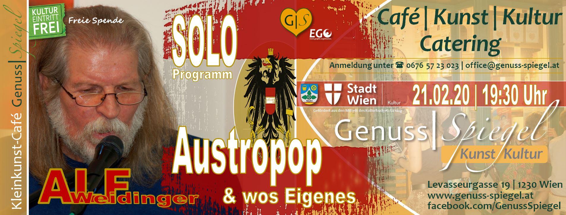 Alf Weidinger´s Austropop & wos Eigenes – Soloprogramm am 21. February 2020 @ Café Genuss-Spiegel.