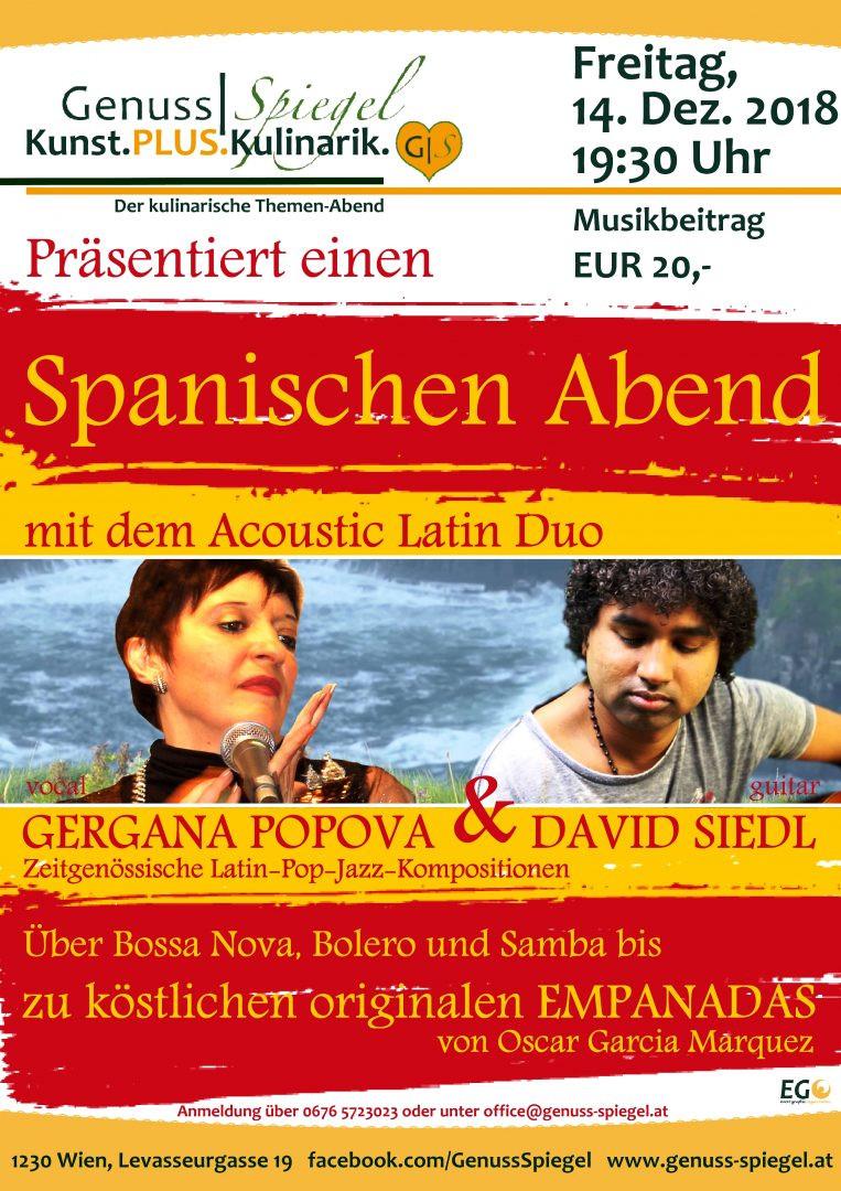Ein Spanischer Abend im GenussSpiegel - Gergana POPOVA & David SIEDL am 14. December 2018 @ Café Genuss-Spiegel.