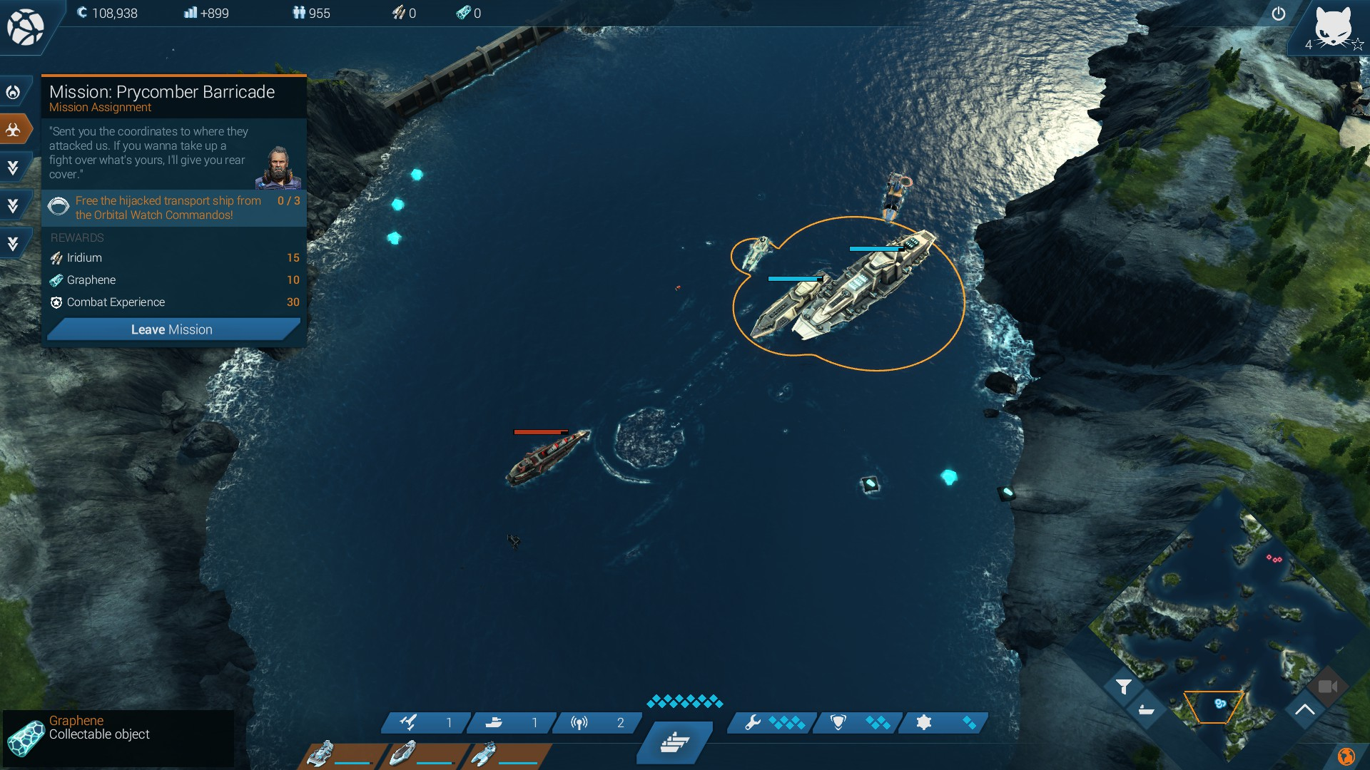 Mit einer kleinen Flotte zieht man in Echtzeit über die Karte und zerlegt gegnerische Schiffe.